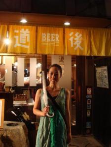 Yuka likes her beer