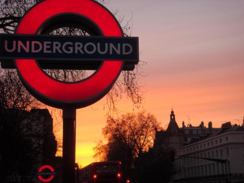 sunset by the underground near regents park