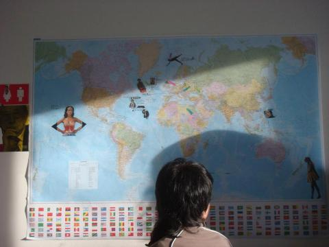 Our apartment's diversity map (and Ilona's head)
